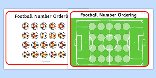 Footballs Number Ordering - Football, World Cup, Soccer, Ordering Numbers, Numeracy, counting, activity,  fine motor skills, colouring, designing, euro 2016