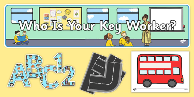 Key Worker Display Pack Bus Themed - EYFS, Early Years, Key person, groups