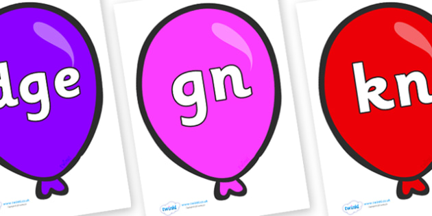 Silent Letters on Party Balloons - Silent Letters, silent letter, letter blend, consonant, consonants, digraph, trigraph, A-Z letters, literacy, alphabet, letters, alternative sounds