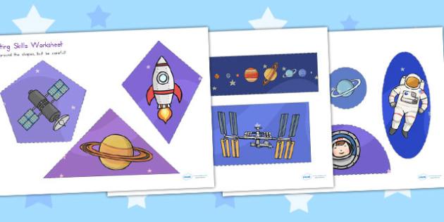 Space Themed Cutting Skills Worksheet - australia, cutting, skill