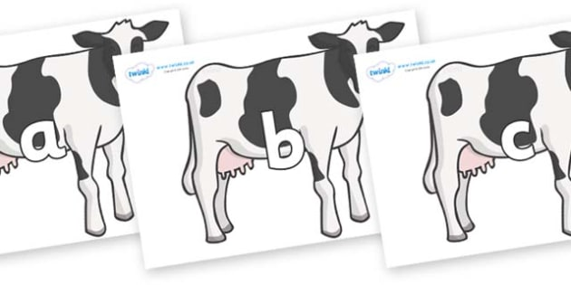 Phase 2 Phonemes on Cows - Phonemes, phoneme, Phase 2, Phase two, Foundation, Literacy, Letters and Sounds, DfES, display