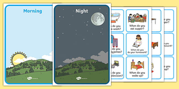 Morning And Night Sorting Activity Image And Word Cards - sort