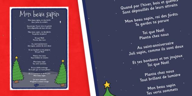 Mon beau sapin Lyrics Poster French - french, o christmas tree, lyrics, christmas, poster
