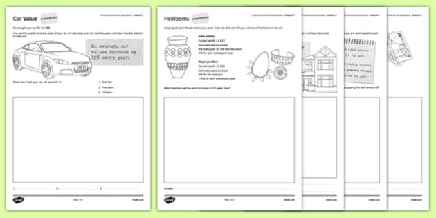 Budget at Home Compound Interest and Depreciation Activity Sheet Pack GCSE Grades 5-7 - KS3, KS4, GCSE, Maths, Finance, Budget, Home, worksheet