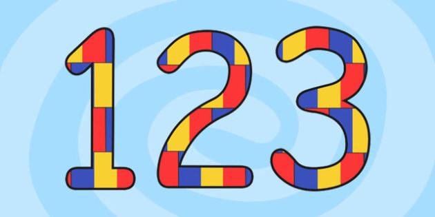 Cifrele in culorile steagului, imprimabile, Romanian
