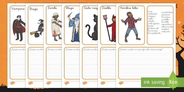 Halloween Pauta para escribir de personajes importantes-Spanish