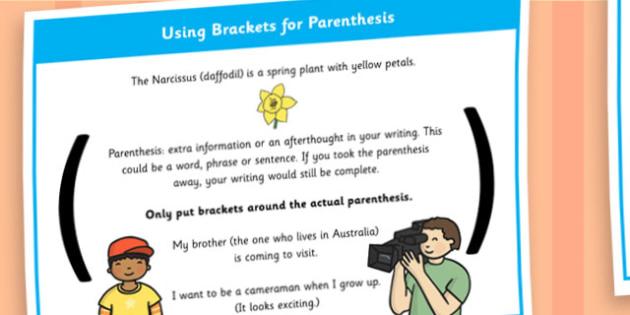 Using Brackets for Parenthesis Display Poster - Parenthesis