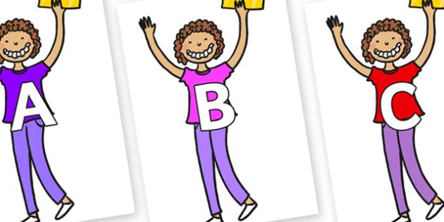 A-Z Alphabet on Violet Beauregarde - A-Z, A4, display, Alphabet frieze, Display letters, Letter posters, A-Z letters, Alphabet flashcards