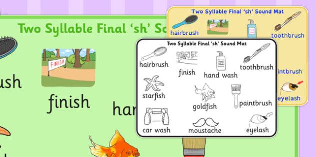 Two Syllable Final 'Sh' Sound Mat - final sh, sound, mat, sound mat