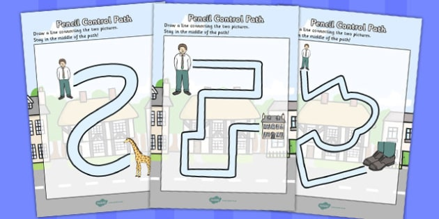 Giant Themed Pencil Control Path Worksheets - pencil, control