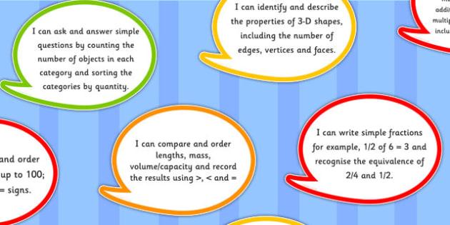 2014 Curriculum Year 2 Maths Assessment I Can Speech Bubbles