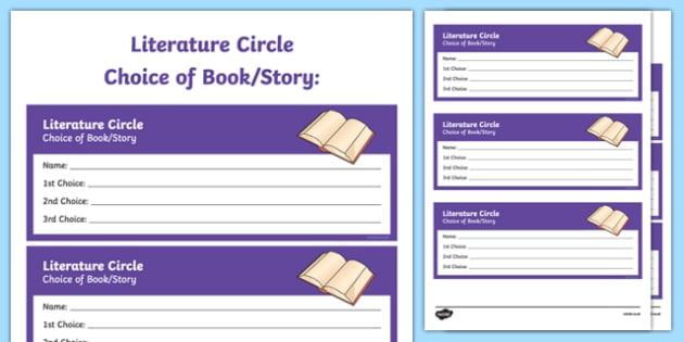 Literature Circle Choice of Book/Story Activity Sheet, worksheet