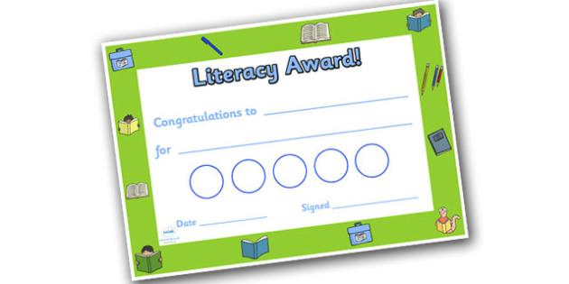 Literacy Themed Sticker Reward Certificate 30mm - literacy reward certificate, literacy certificate, literacy sticker certificate, sticker certificate