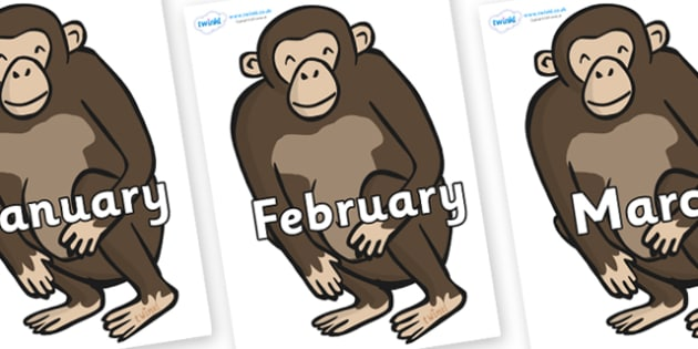 Months of the Year on Chimps - Months of the Year, Months poster, Months display, display, poster, frieze, Months, month, January, February, March, April, May, June, July, August, September