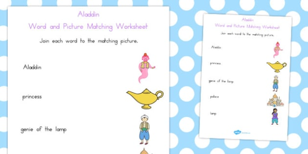 Aladdin Word and Picture Match - matching, pictures, activities