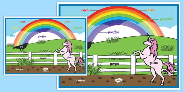 Póster Colores del arco iris - galés