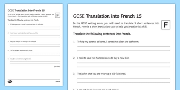 GCSE French: Translation into French - Foundation Tier Activity Sheet 15-French, worksheet