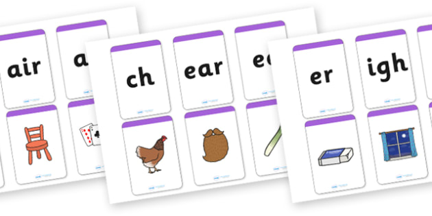 Phase 3 Matching Cards (Image to Sound) - Matching Card, Phonemes, Phase 3, Phase three, Mnemonic cards, DfES Letters and Sounds, Letters and sounds, Letter flashcards