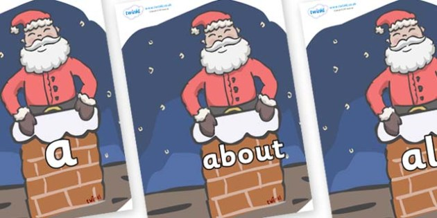100 High Frequency Words on Santa (Chimney) - High frequency words, hfw, DfES Letters and Sounds, Letters and Sounds, display words