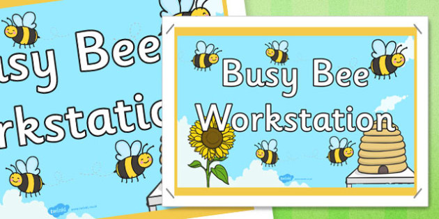 Busy Bees Workstation Display Poster Sign - busy bees, workstation, display poster, sign