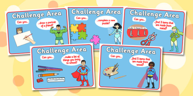 Challenge Area Pack General Challenges - Challenge, gifted and talented, Area Signs, challenges, challenge resources, Banner, Foundation Stage Area Signs, Classroom labels, Area labels, Area Signs, Classroom Areas, Poster, Display, Areas
