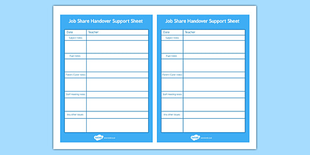 Job Share Handover Support Sheet  JobShare Handover Support
