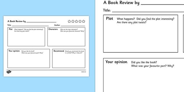 Topic Book Labels - Book Review Writing Template, Book Review