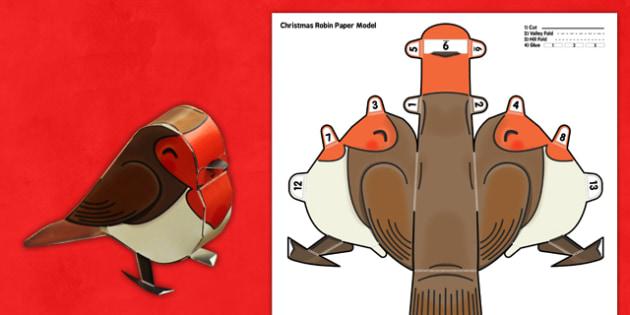 3D Christmas Robin Paper Model Printable - 3d, christmas, robin, paper, model, printable