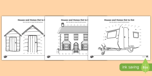 Houses and Homes Counting in 10s Dot-to-Dot Activity Sheet Pack, worksheet