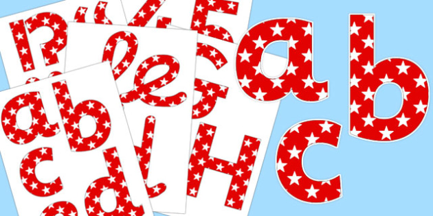 Red and White Stars Display Lettering - display lettering, display