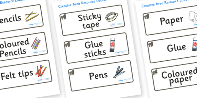 Gorilla Themed Editable Creative Area Resource Labels - Themed creative resource labels, Label template, Resource Label, Name Labels, Editable Labels, Drawer Labels, KS1 Labels, Foundation Labels, Foundation Stage Labels