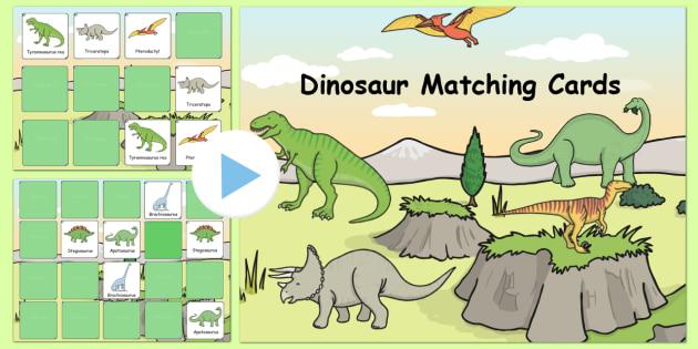 Dinosaur Themed Matching Cards Activity Notebook - dinosaur