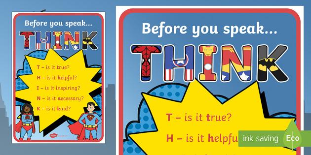 THINK Display Poster - New Zealand Back to School, superhero theme, classroom set up, classroom rules, classroom treaty, be