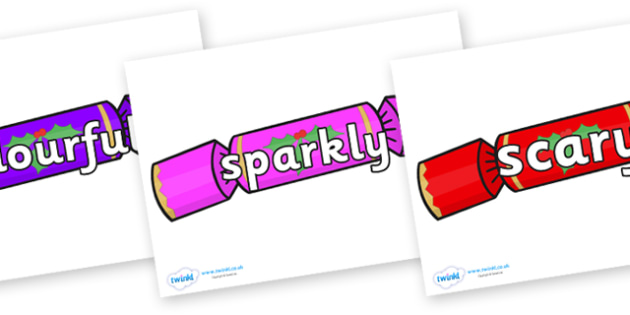 Wow Words on Multicoloured Crackers - Wow words, adjectives, VCOP, describing, Wow, display, poster, wow display, tasty, scary, ugly, beautiful, colourful sharp, bouncy