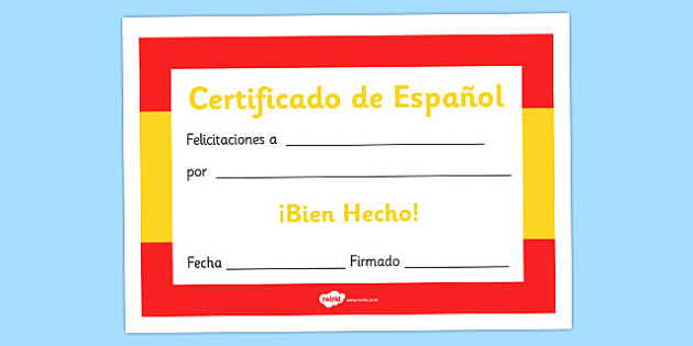 Spanish Award Certificate  Spanish Award Certificate Spanish