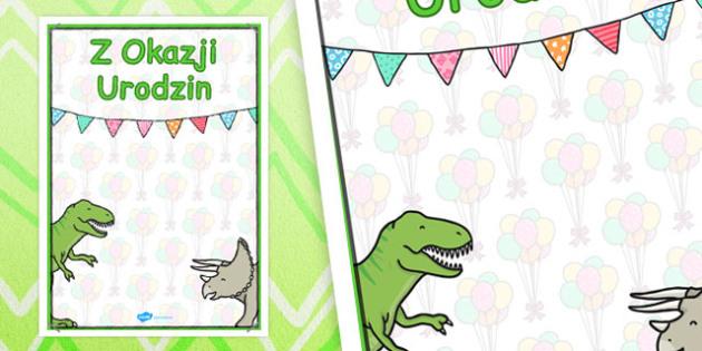 Urodzinowy plakat z dinozaurami po polsku - dzieci , Polish