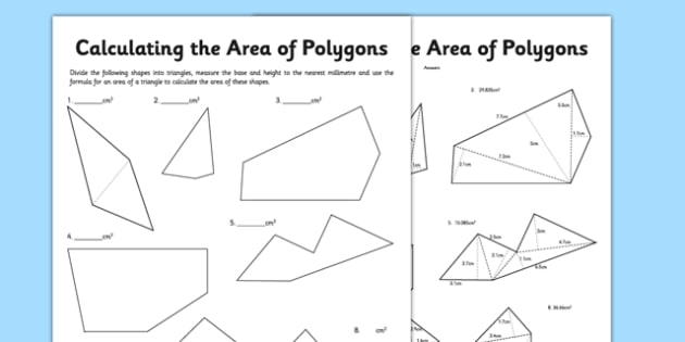 Calculating the Area of Polygons Using Triangles Activity Sheet - calculating, area, polygons, triangles, worksheet
