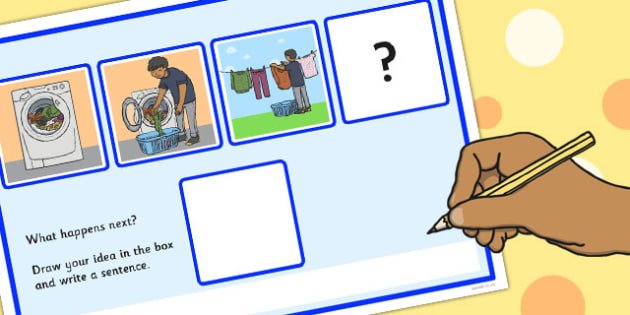 What Happens Next? Fill in the Blank Worksheet for 'Hanging Out the Washing' - happens, next, wash