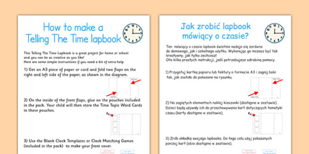 Telling The Time Lapbook Instructions Polish Translation - polish, lapbooks, instructions