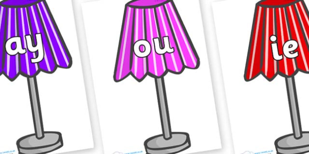 Phase 5 Phonemes on Lamps - Phonemes, phoneme, Phase 5, Phase five, Foundation, Literacy, Letters and Sounds, DfES, display