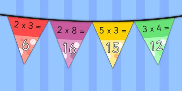 Times Table Bunting Pack - times table, bunting, pack, display, multiplication