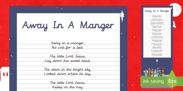 Away in A Manger Christmas Carol Handwriting Practice Activity - Christmas, Nativity, Jesus, xmas, Xmas, Father Christmas, Santa, St Nic, Saint Nicholas, traditions,