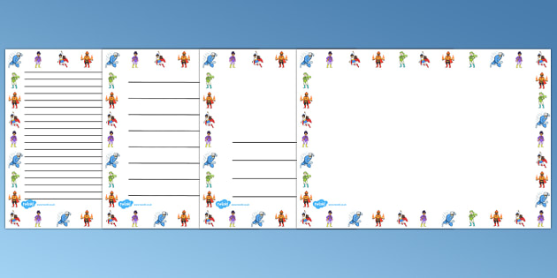 Superheroes Page Borders (Landscape) - page border, border, frame, writing frame, superheroes borders, superhero, superheroes writing frames, writing template, writing aid, writing, A4 page, page edge, writing activities, lined page, lined pages