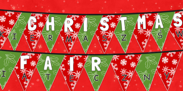 Christmas Fair Bunting Polish Translation - polish, christmas fair, christmas, fayre, bunting, display