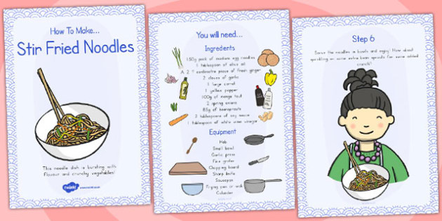 Stir Fried Noodles Recipe Cards - australia, recipe, cards, stir