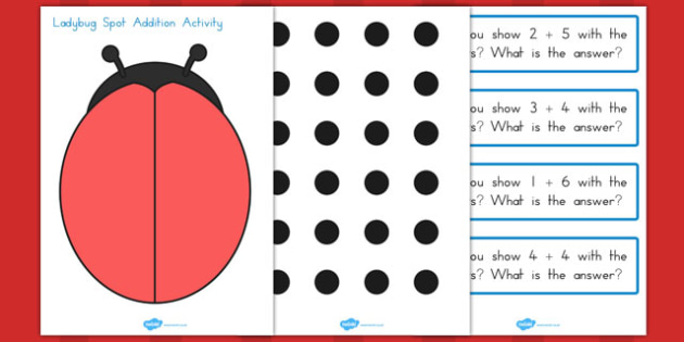 Ladybug Spot Addition Activity - ladybug, spot, addition, activity