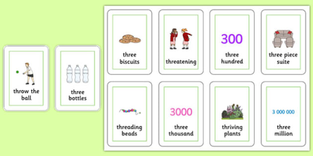 Three Syllable THR Playing Cards - speech sounds, phonology, articulation, speech therapy, cluster reduction