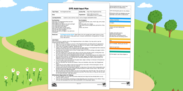 EYFS Paper Plate Gingerbread Man Adult Input Plan and Resource Pack - The Gingerbread Man, Traditional Tales, colour mixing