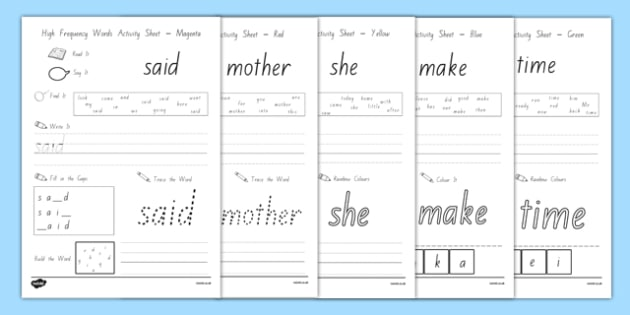 High Frequency Words Activity Sheets - high frequency words, basic words, worksheet