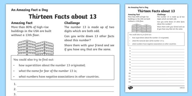 Thirteen Facts About 13 Activity Sheet, worksheet